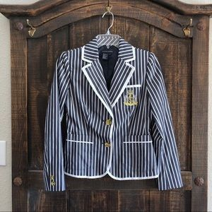 Boston Proper Preppy Blue Striped Crest Blazer 2